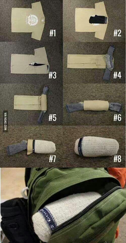 Aprovechando el espacio al doblar la ropa.
