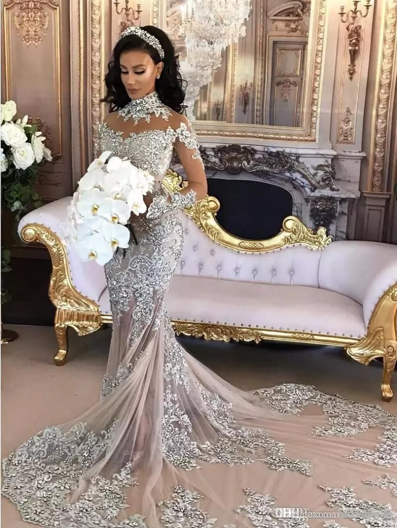 69719ef5566 2018 Vintage Luxury Arabic Wedding Dresses Long Sleeves High Neck Crystal  Beads Mermaid Long Train Sparkly African Bridal Gowns Customized
