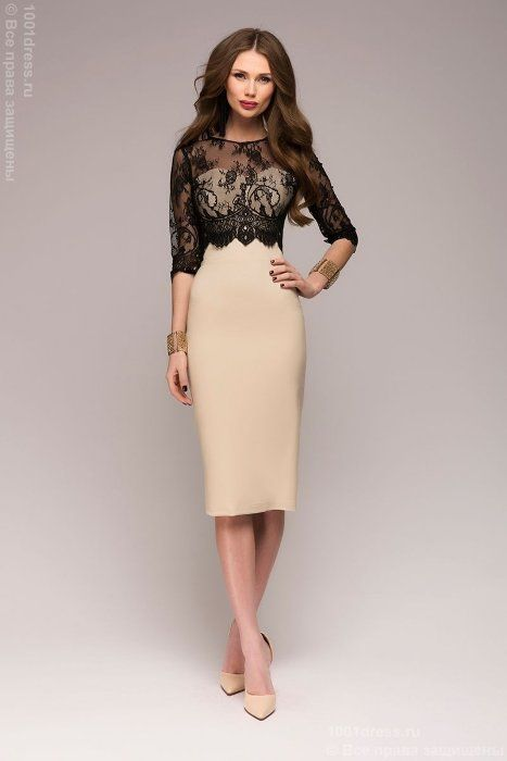 2f99a0983b5 Бежевое платье-футляр с черным кружевным верхом 1
