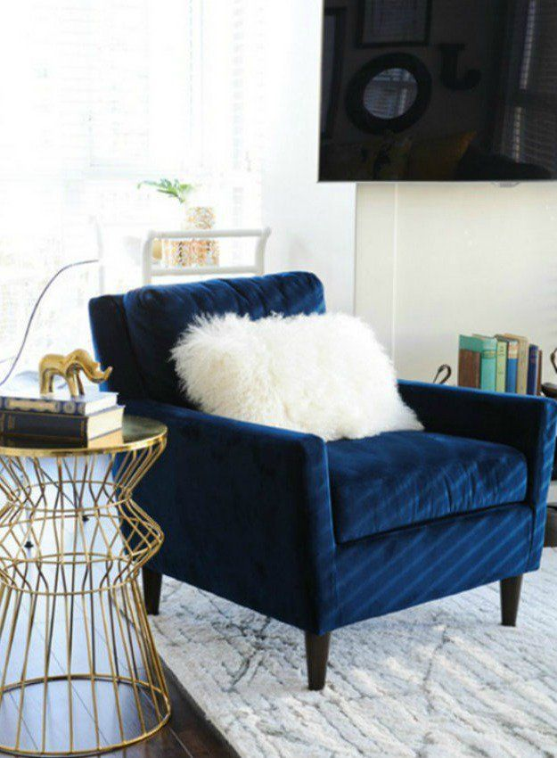 Elegant And Modern Blue Velvet Chair For Stylish Living Room