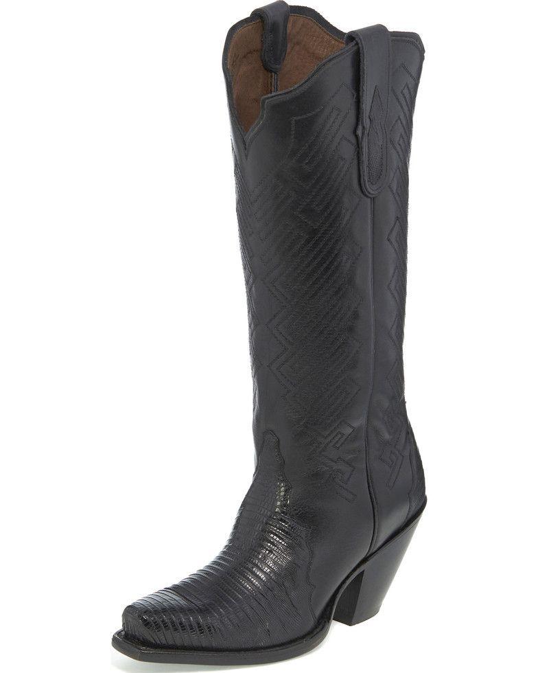 ed4746f52fc Tony Lama Women's Black Teju Lizard Cowgirl Boots - Snip Toe in 2019 ...