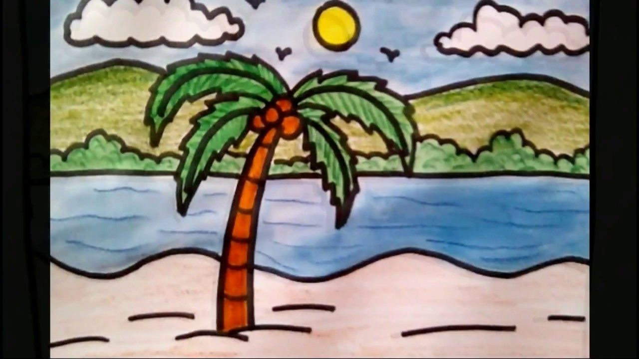 Simple Landscape Sketches For Kids How To Draw Coconut Tree Beach Scenery Drawing For Kids Youtube Scenery Drawing For Kids Palm Tree Drawing Easy Coconut Tree Drawing