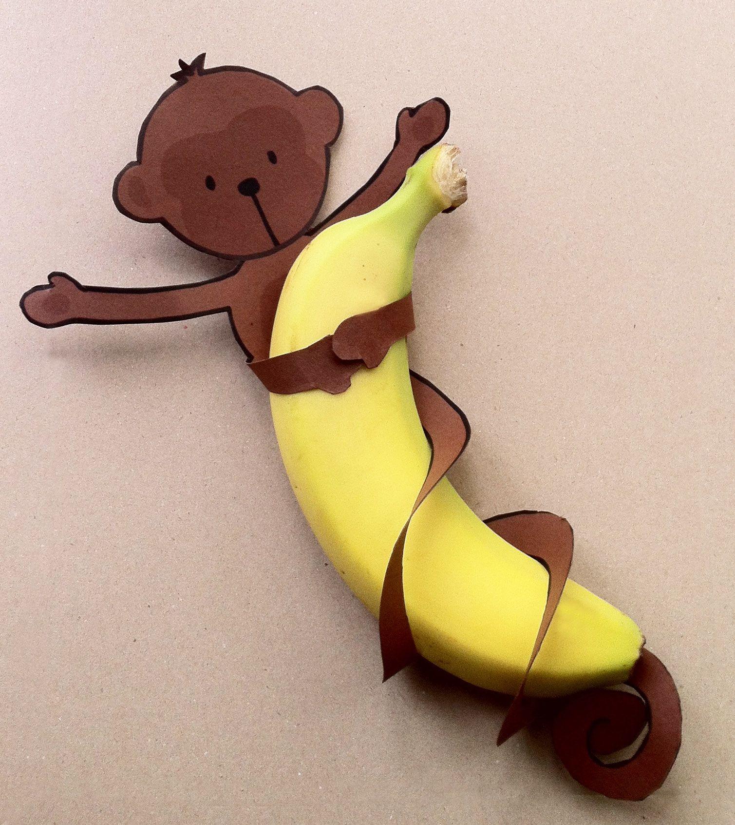 Free printable aapje met staart om banaan