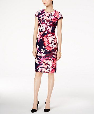b1f954a79aed Vince Camuto Floral-Print Cap-Sleeve Sheath Dress