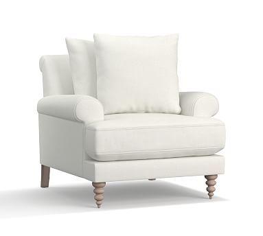 Amalie Upholstered Armchair, Polyester Wrapped Cushions, Basketweave Slub Ivory