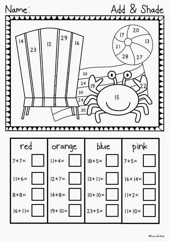 Summer Number Freebie Math Activities Preschool 1st Grade Math Worksheets First Grade Math Worksheets