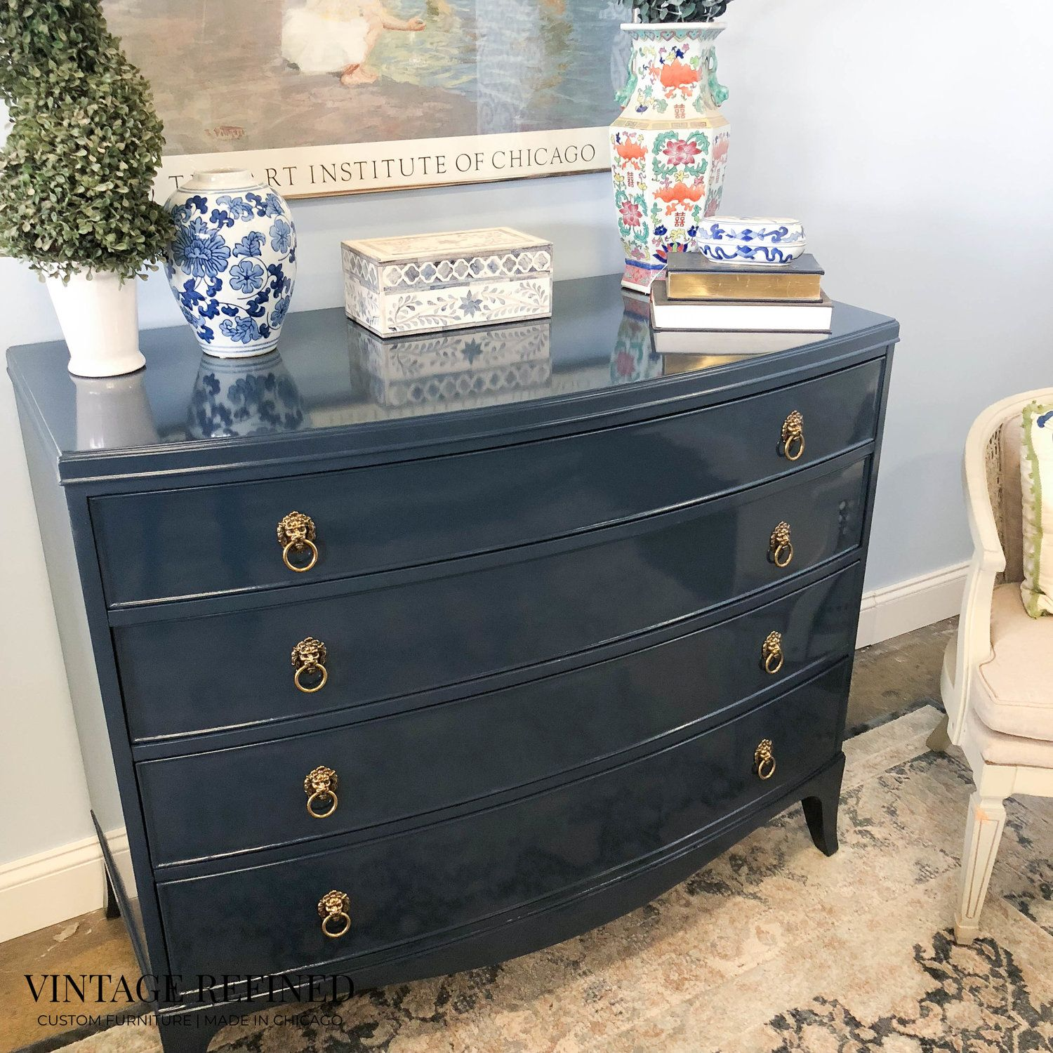 Navy Painted Dresser Revamp Furniture Furniture Makeover