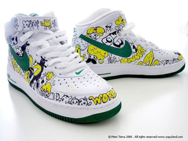 Custom painted Nike sneakers by Meni Tzima