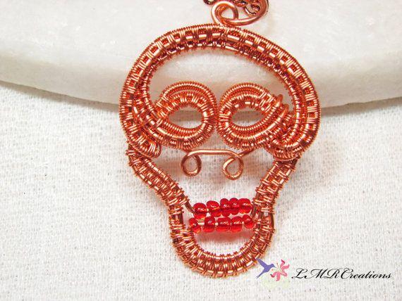 04c9ae1dd Copper Sugar Skull Necklace Wire Wrapped Sugar by LMRCreations2 ...