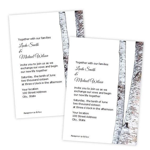 Wedding Invitation - Birch Tree Trunk - DIY Printable Invite - microsoft word template invitation