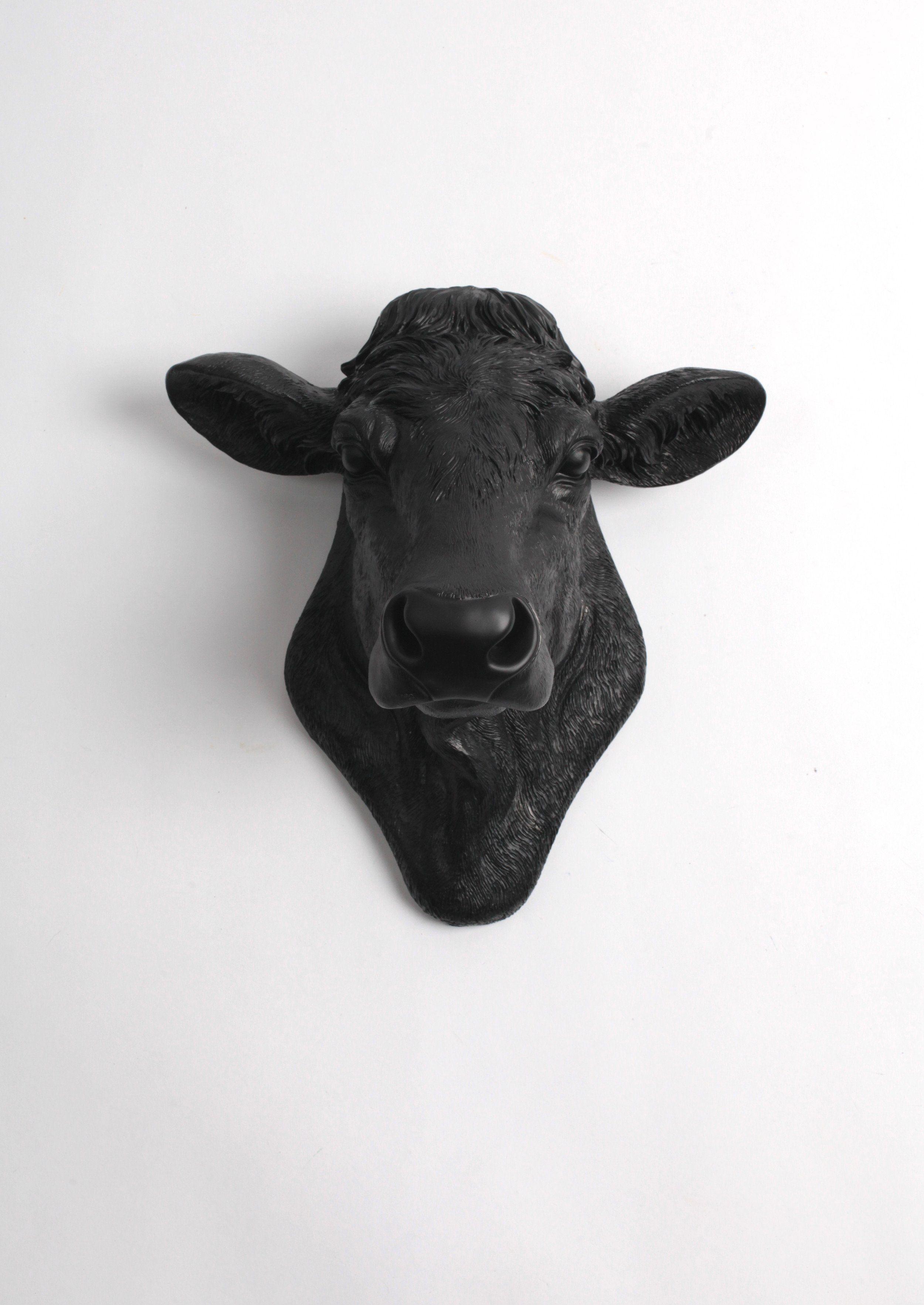 The Bessie In Black Cow Head Wall Decor Black Angus Art White Faux Taxidermy Cow Head Decor White Faux Taxidermy Cow Head