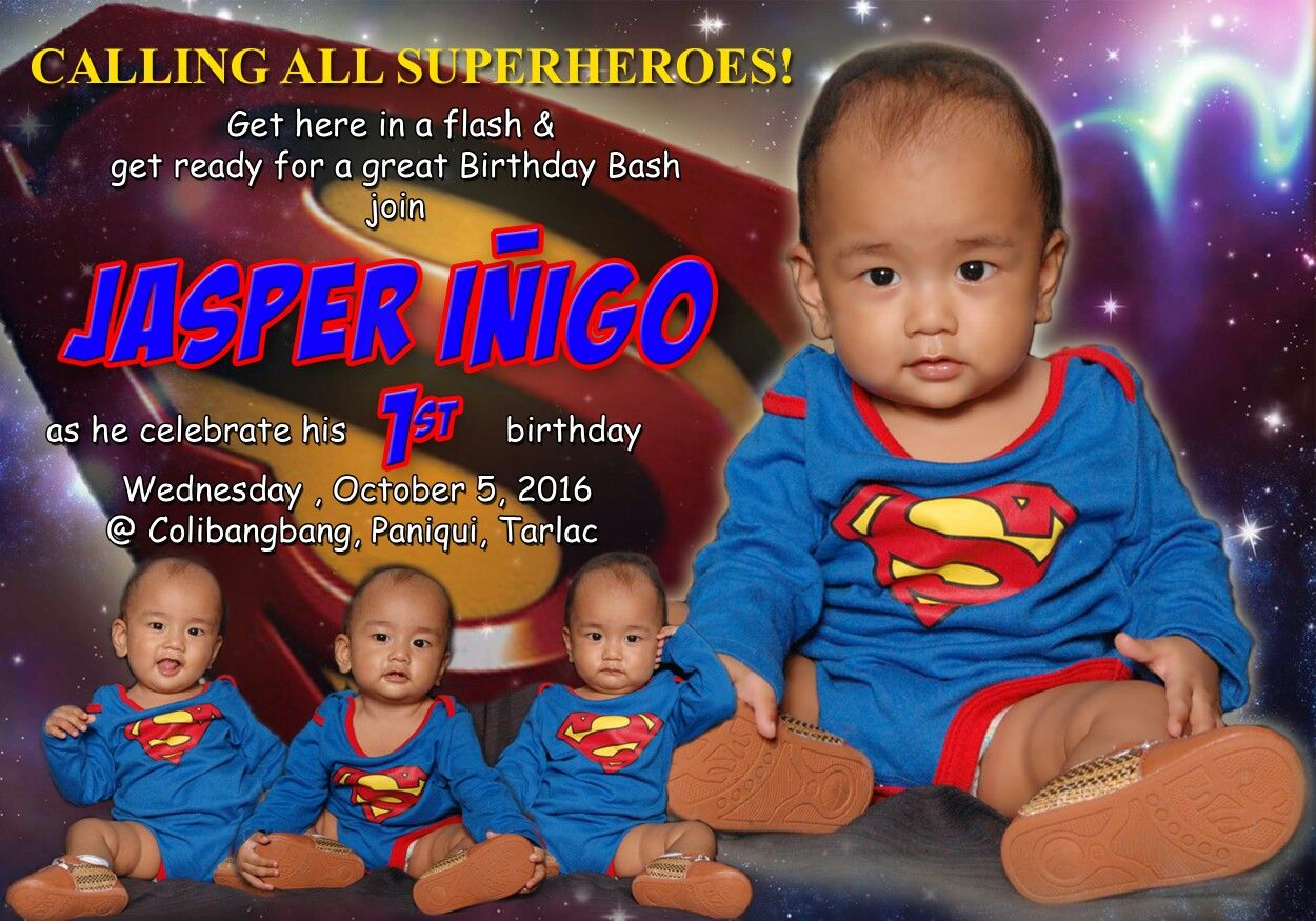 5r Superman Themed Invitation
