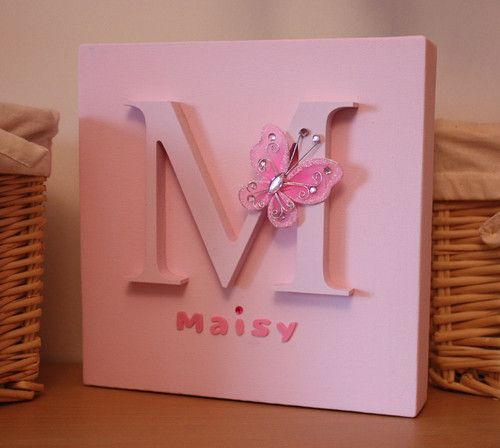 Personalised Name Canvas Children Kids Nursery Picture Christening Baby Gift