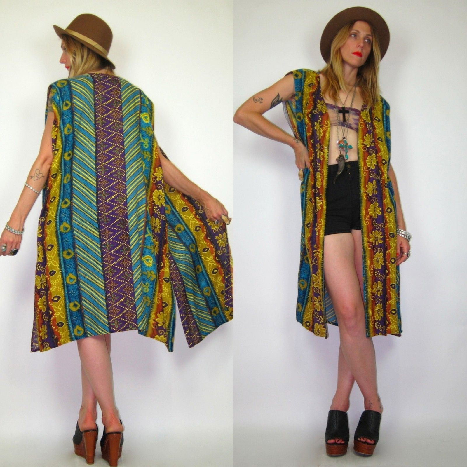 Vintage 80s TRIBAL Ethnic OVERSIZED Open Maxi VEST Dress BOHO ZIG ZAG Striped BOHO