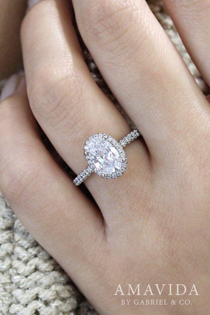 cc7010359d3cd 18K White Gold - ER12907O6W83JJ | Oval Engagement Ring | Engagement ...