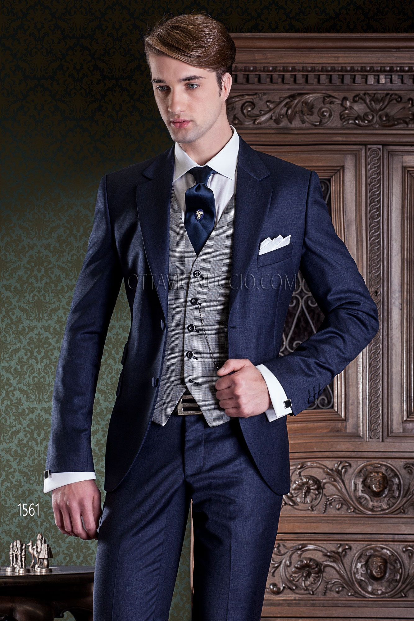 ae6d76f54b5d 2 buttons dark blue formal suit in pure wool with ticket pocket and Prince  of Wales vest  bespoke  madeinitaly  weddingsuit  groomsuit  weddingtuxedo   groom ...