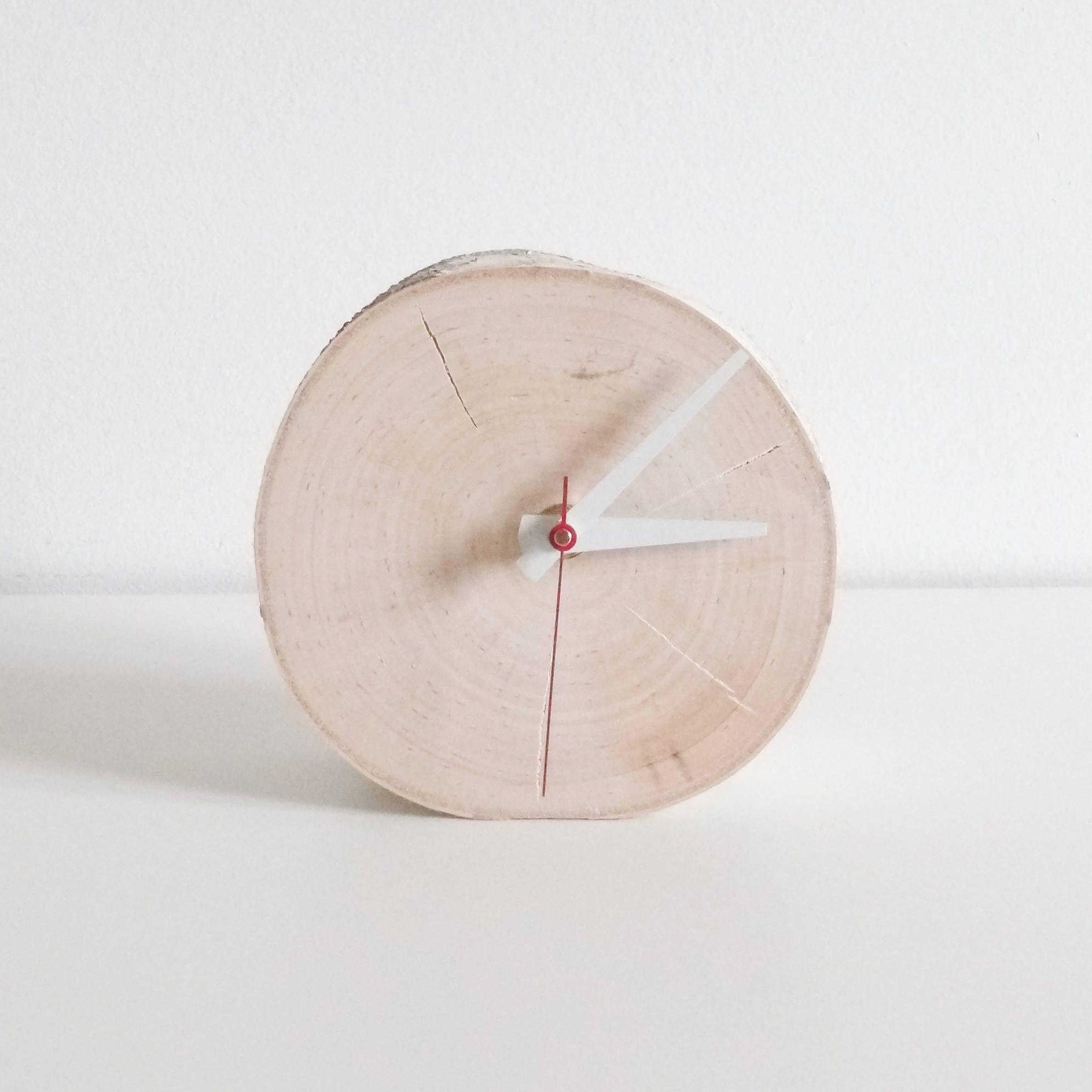 Chunky White Birch Wood Clock Wooden Clock Modern Rustic Clock