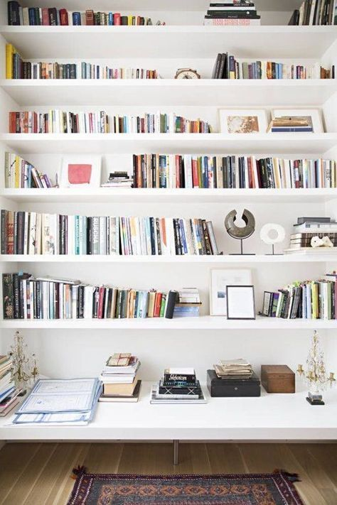 Small Space Secrets Swap Out Your Bookcases For Wall Mounted Shelving Wall Mounted Shelves Bookshelves Home Libraries