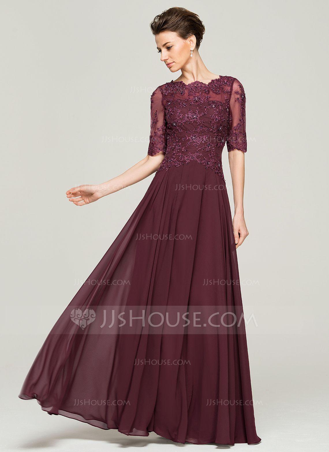 A-Linie/Princess-Linie U-Ausschnitt Bodenlang Chiffon Spitze Kleid ...