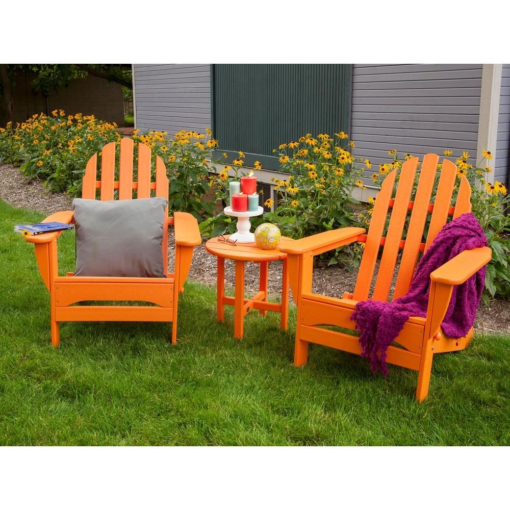 POLYWOOD Classic Folding Tangerine 3Piece Adirondack