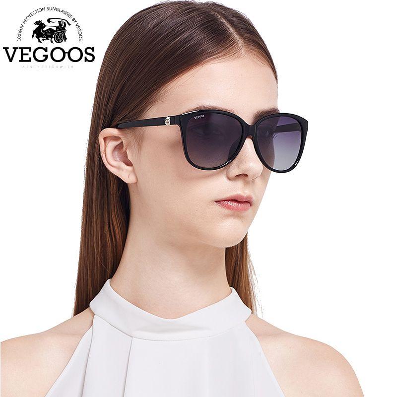 VEGOOS Brand Design Resin Wrap Metal Cat Eye Glasses Vintage Flash Mirror  Lens Sunglasses Women Men Coating sunglass #9049