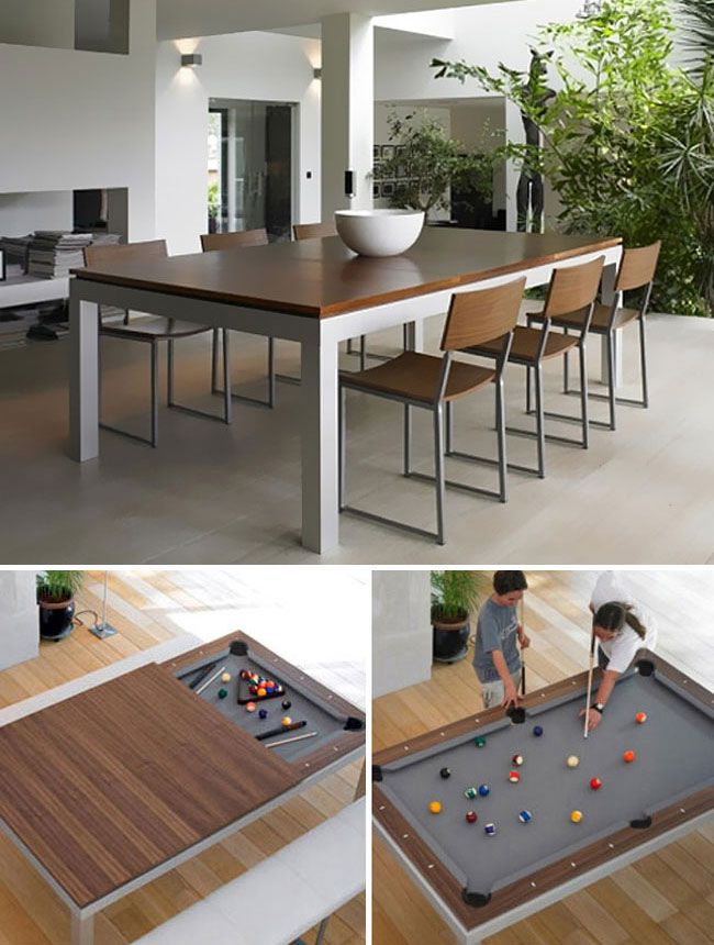 28 Cool Products And Inventions Designed To Save Space Pool Table Dining Table Dining Room Design Dining Room Table