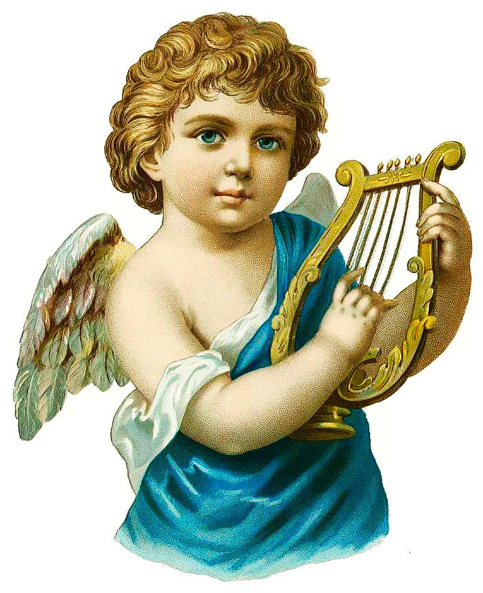 Angel Playing A Harp Black Kids Sweatshirt