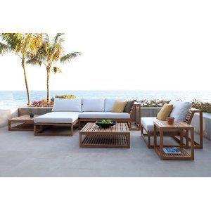Teak modern outdoor furniture set exterior design for Amazon muebles terraza