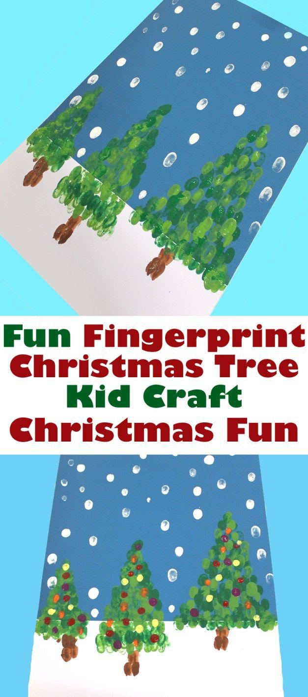Fingerprint Christmas Tree Kid Craft Met Afbeeldingen Kerst Kunst Kerst Knutselen Kerstmis Knutselen