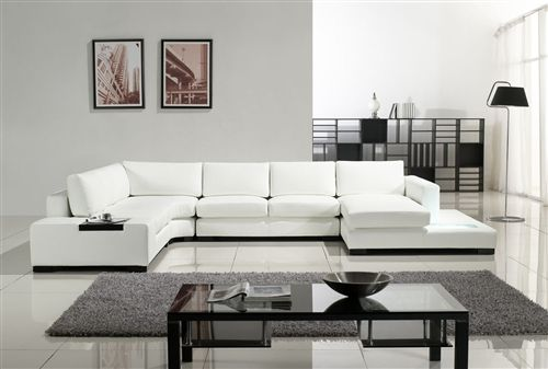 Modern White Bonded Leather Sectional Sofa Tos Lf 2029 Bn White Furniture Living Room Modern Sofa Sectional Sofa Design