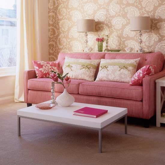 Living room carpet with sofa, coffee table, floor-length curtains ...