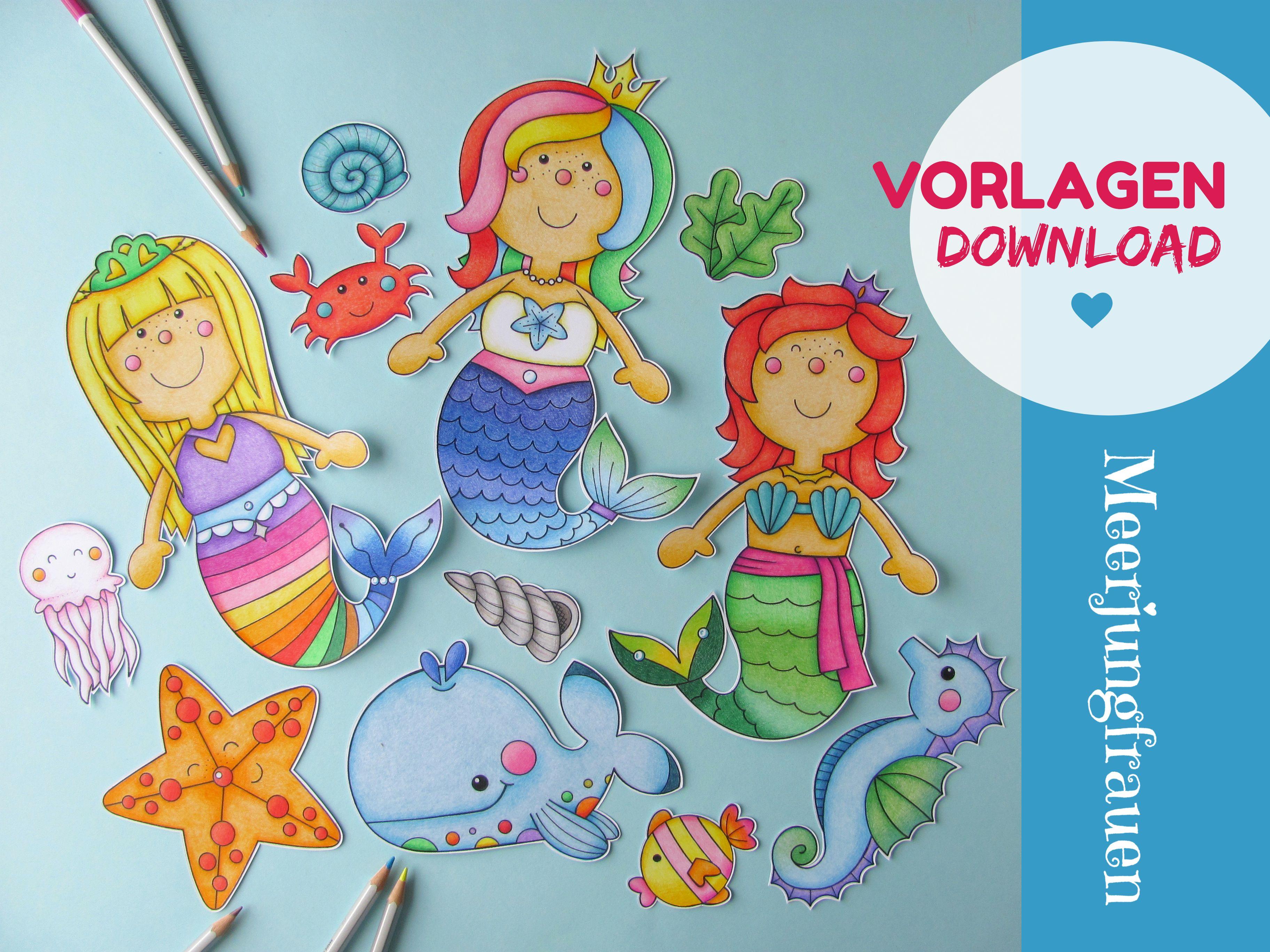 digital download mermaids 3 pages blackwhite  black