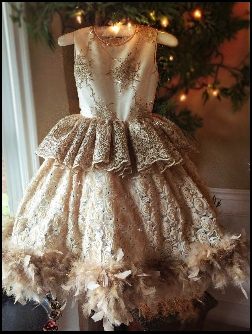 d2c1a7b1534a An Embroidered Princess Style Flower Girl Dress. This hand-made  blush/champagne dress features a luxurious bridal satin with an absolutely  stunning ...