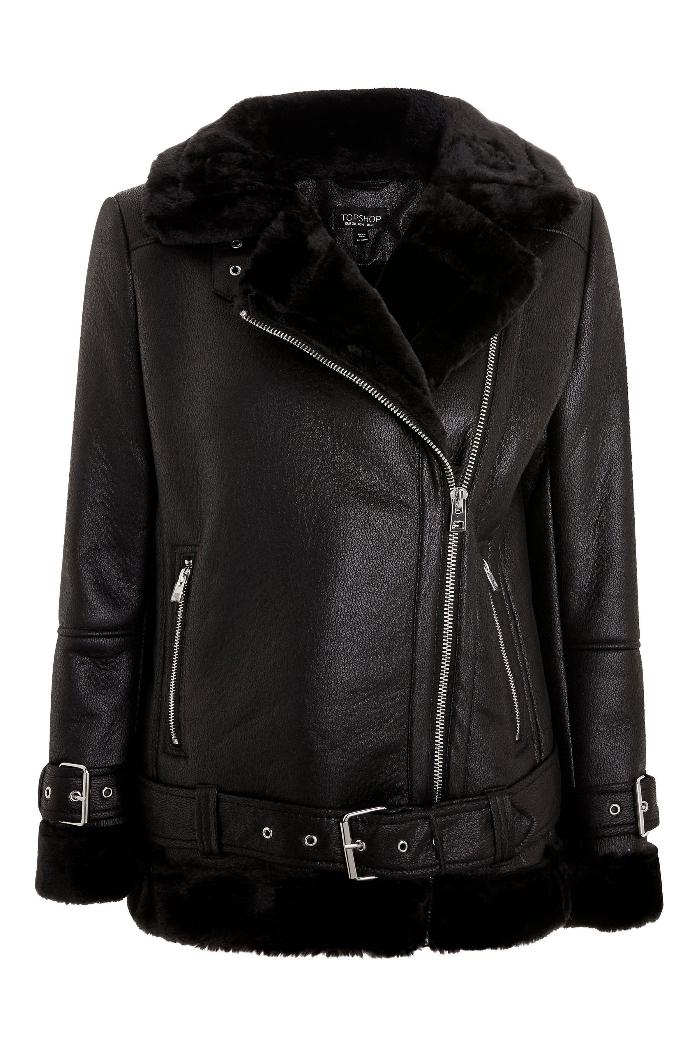 Faux Shearling Biker Jacket Jackets, Biker jacket