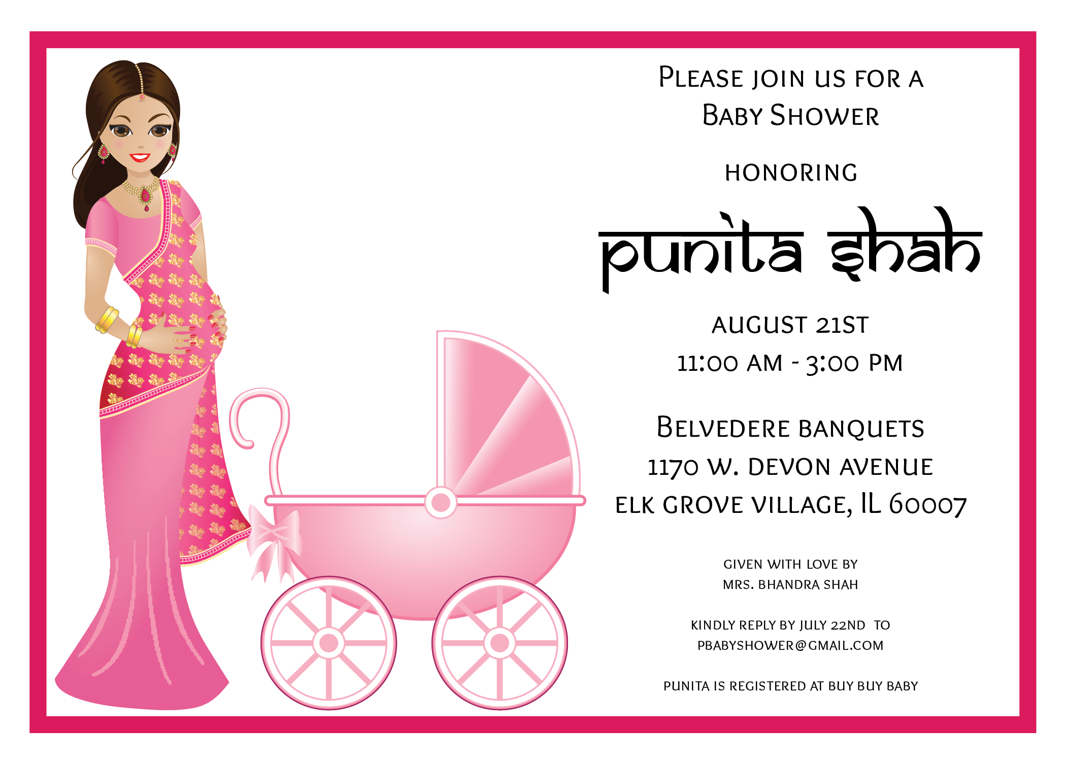 Indian baby shower - Contemporary invitation composed of a chic ...