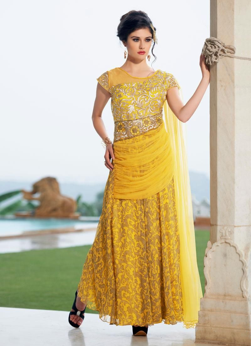 Praiseworthy georgette yellow designer gown the energetic yellow