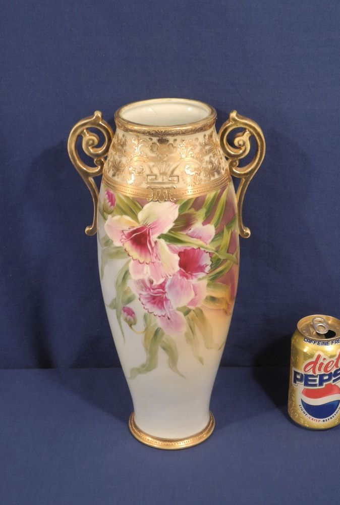 Vintage Large 15 Hand Painted Nippon Vase Floral Moriage Gold