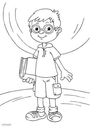 kleurplaat bril dragen  thema  ogen  pinterest  bril