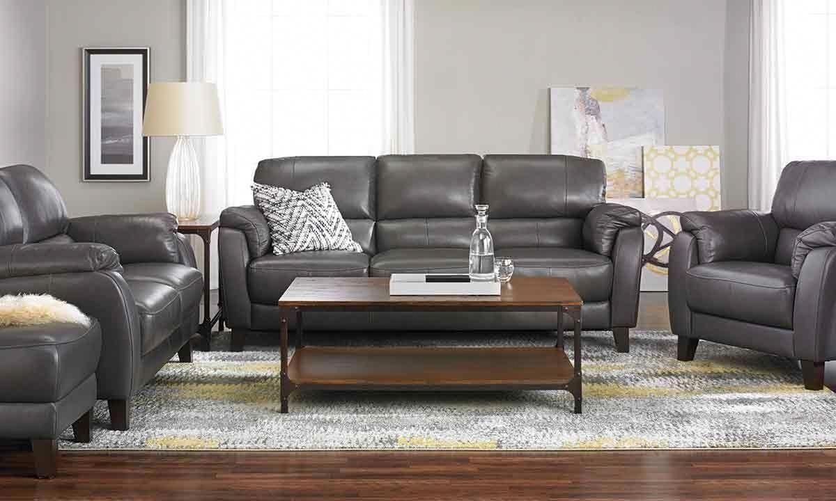 Violino Classico Pewter Genuine Leather Sofa Haynes Furniture Leather Sofa Living Room Furniture Genuine Leather Sofa