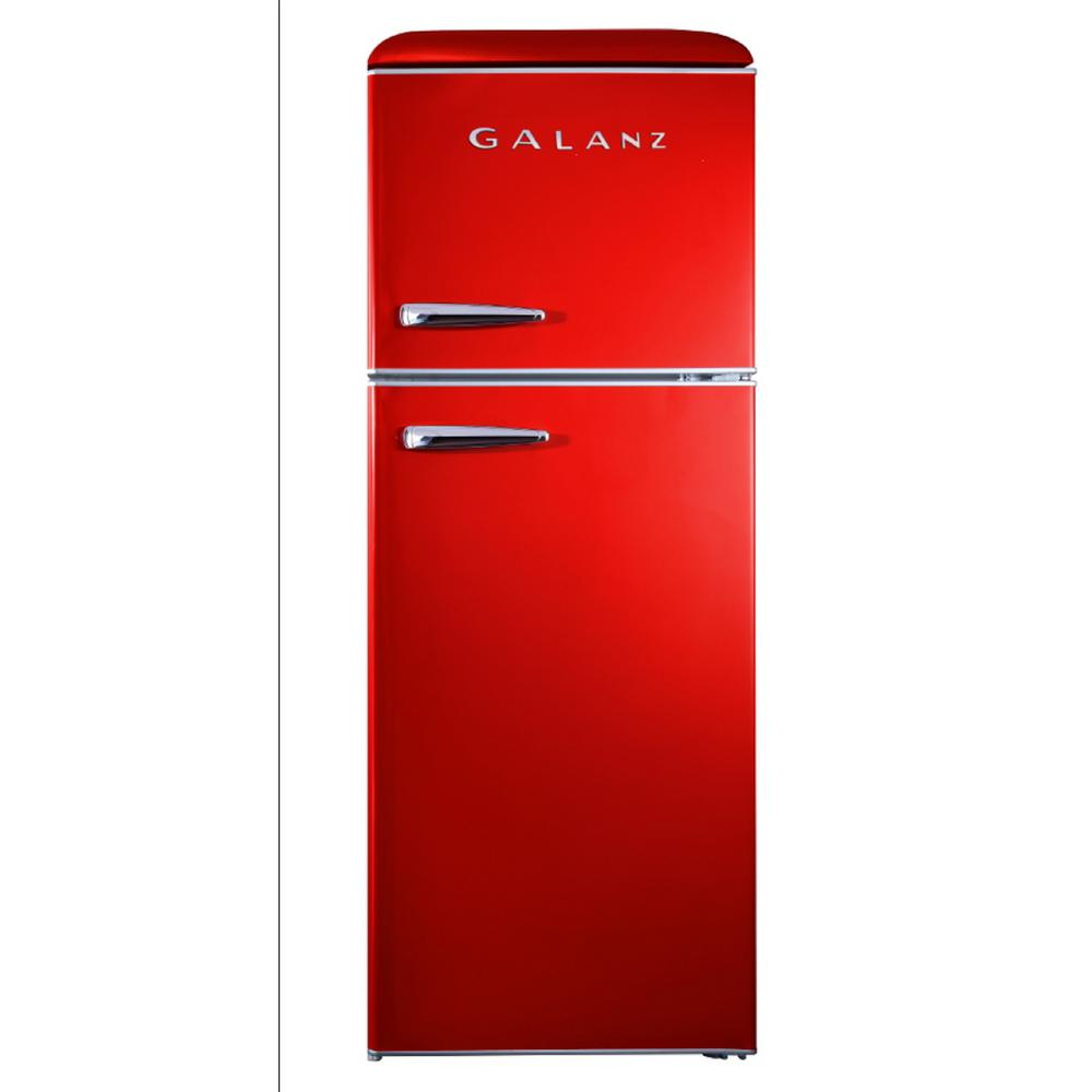 Galanz 10 0 Cu Ft Retro Top Freezer Refrigerator With Dual Door True Freezer Frost Free In Red Glr10trdefr The Home Depot Top Freezer Refrigerator Retro Refrigerator True Freezer