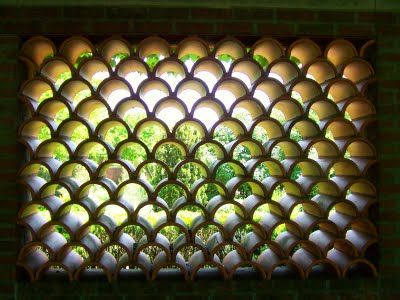 Barrel Tile Roof Pieces As A Beautiful Wall Repurposed