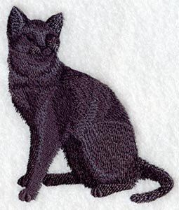 Shorthaired Cat Silhouette Embroidered by forgetmeknottreasure.etsy.com