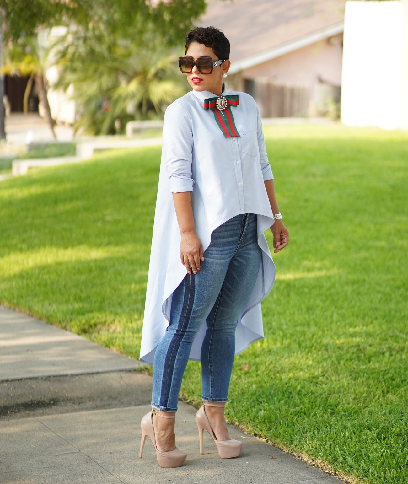 Diy High Low Button Up Shirt Using The Katie Pdf Mimi G Style Fashion Ladies Tops Fashion Corporate Attire