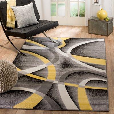 Orren Ellis Gaeta Grey Yellow Indoor Area Rug Rug Size Rectangle