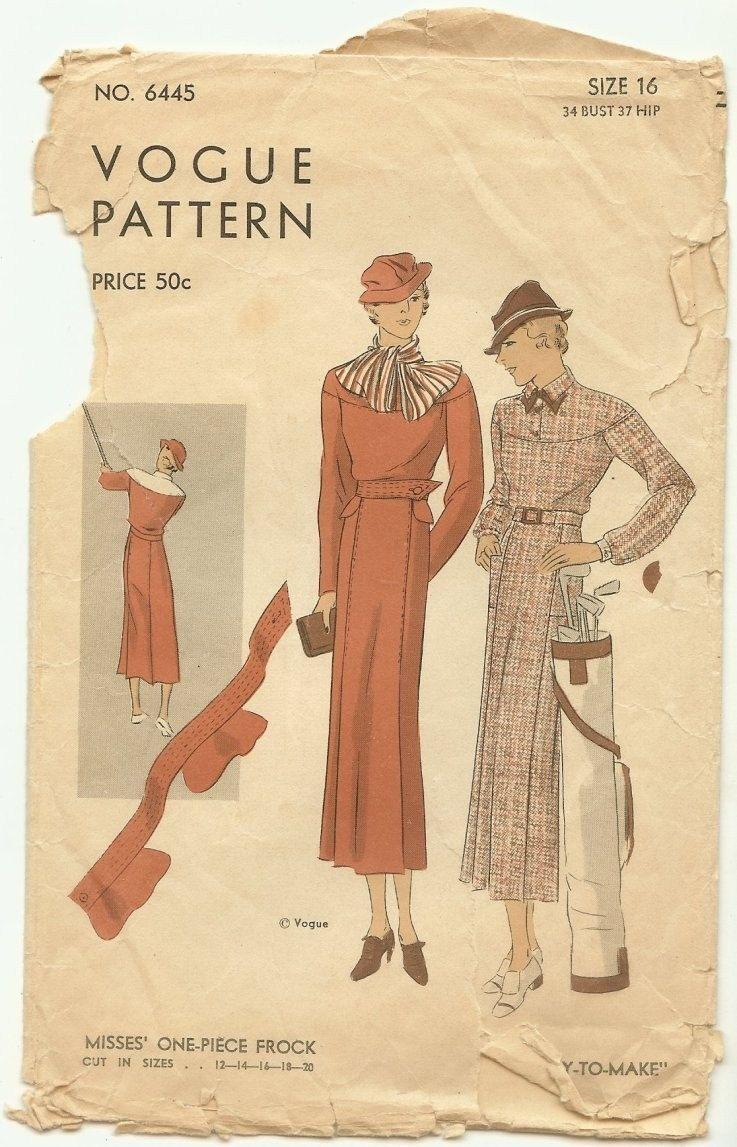 1930\'s Vintage Vogue Pattern 6445 Art Deco 30s Misses\' One-Piece ...