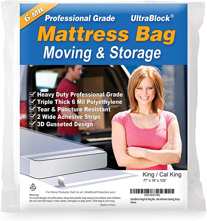 Ultrablock Mattress Bag For Moving Storage Or Disposal King And Cal King Size Heavy Duty Triple Thick 6 Mil Tear A In 2020 Cal King Size Moving And Storage Mattress