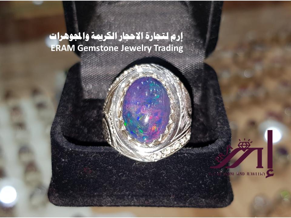 لعشاق الجواهر خاتم ملكي اوبال ازرق ناري طبيعي100 Opal للعرض Gemstones Jewelry Gemstone Jewelry