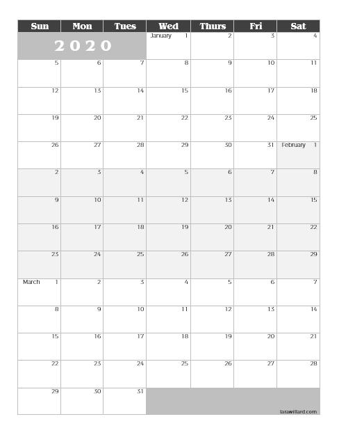 Download Printable 2020-2021 Quarterly Calendar in 2020 ...
