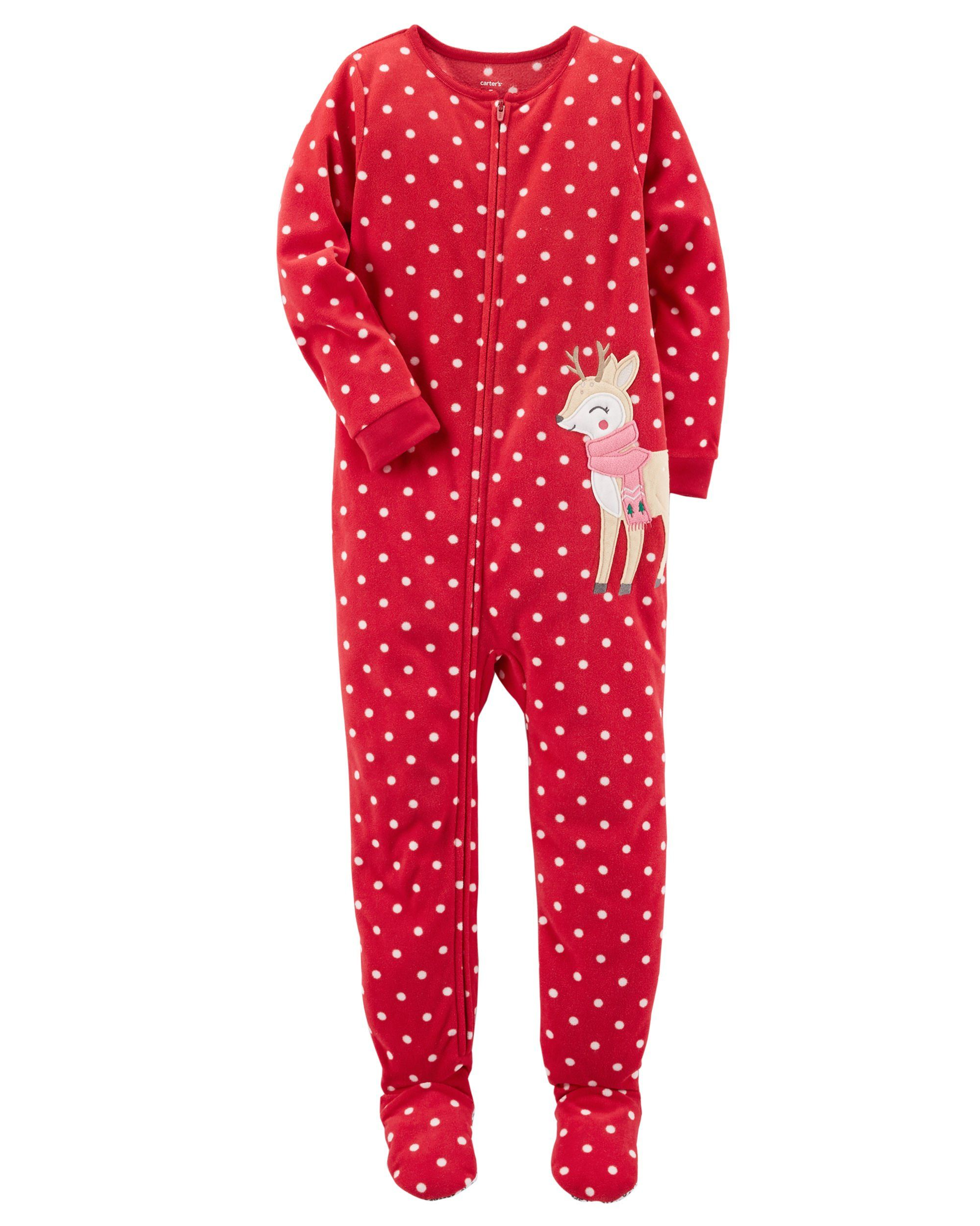 769d99ad93 Carters Baby Toddler Girls 2 Pack Fleece Footed Pajama Sleep and Play Set  12 Months Zipper Closure Red Reindeer and Pink Santa -- Make sure to take a  look ...