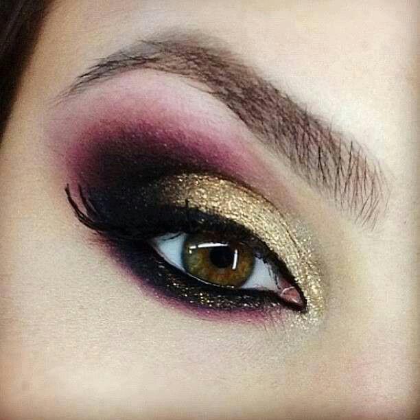 Maroon And Gold Eyeshadow Dramatic Eye Makeup Makeup Dramatic Eyes
